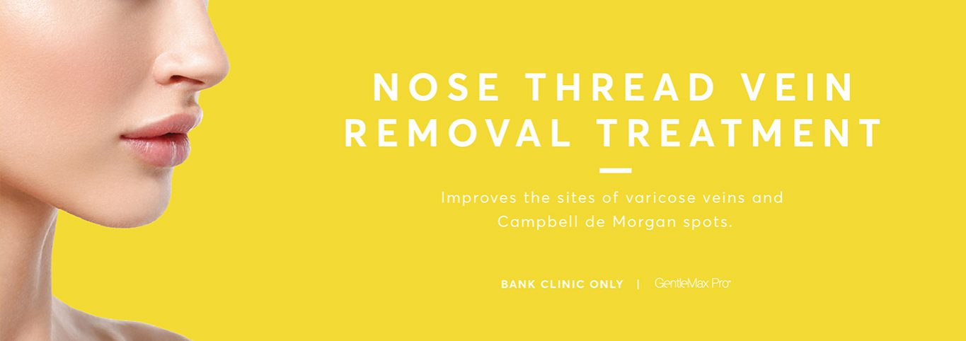 Lady's nose in a yellow background promoting the nose thread vein removal treatment