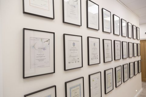 Certificates at Pulse Light Clinic