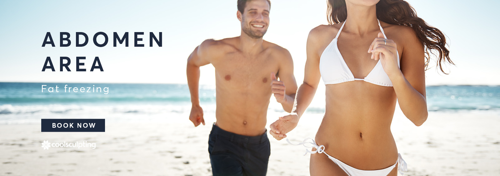 A banner image of male and female showing there abdomen area in there swimwear running on the beach for CoolSculpting treatment