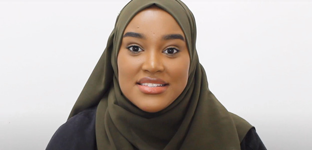 Lady with Hijab white background